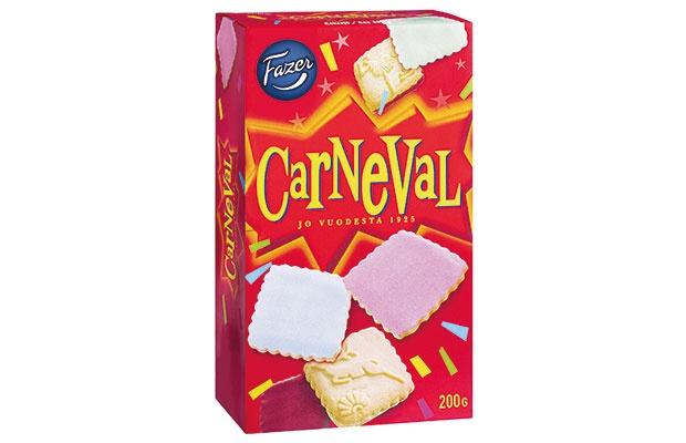 Fazer Carneval 200g Kuorrutekeksejä.