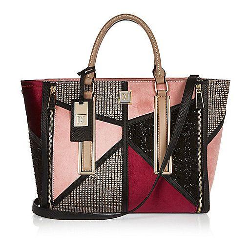 Pink patchwork winged tote handbag - shopper / tote bags - bags / purses - women