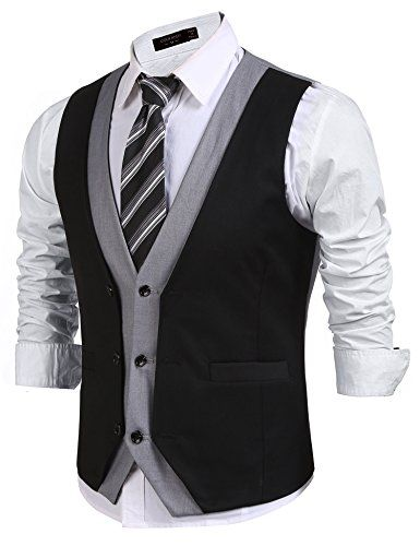 JINIDU Mens Layered V-Neck Patchwork Slim Fit Business Suit Vest Waistcoat