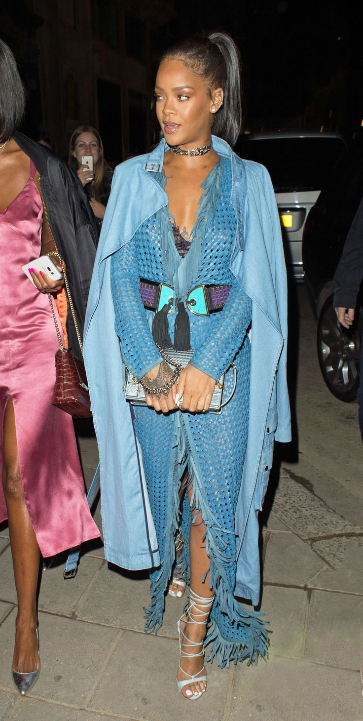 Rihanna in head-to-toe Balmain while out in London with Drake.