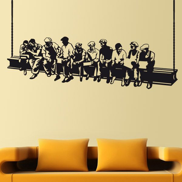 """This beautiful wall sticker brings to your living room the essence of New York in the 30s. Inspired by the mythical picture of Carles C. Ebbets """"Lunch atop a Skyscraper"""". The photo was taken in 1932 at the Rockefeller Center building. Ideal for decorating bars, cafes and shops."""