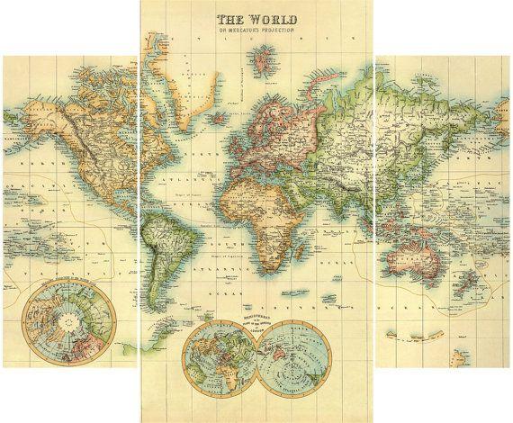 Impresiones de la lona de la mapa del mundo lona impresión