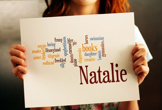 Invite your kids to make a wordle at home. Give them parameters like this mom did with her kids: name 6 times, two fruits of the spirit they try to live, ways they help and serve others...post them on your bulletin board!