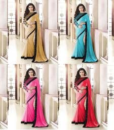 Buy Multicolour embroidered georgette saree with blouse sarees-combo-sari online