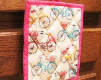 Agarrador de cocina, sostenedor de pote de bicicleta, bicicleta cocina decoración--[bicicletas]--PH 3001 de acolchado
