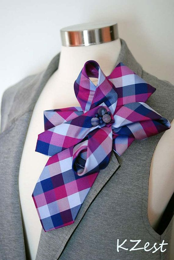 Statement Neck-tie silk brooch. Tie Pin. The formal style but very feminine )))