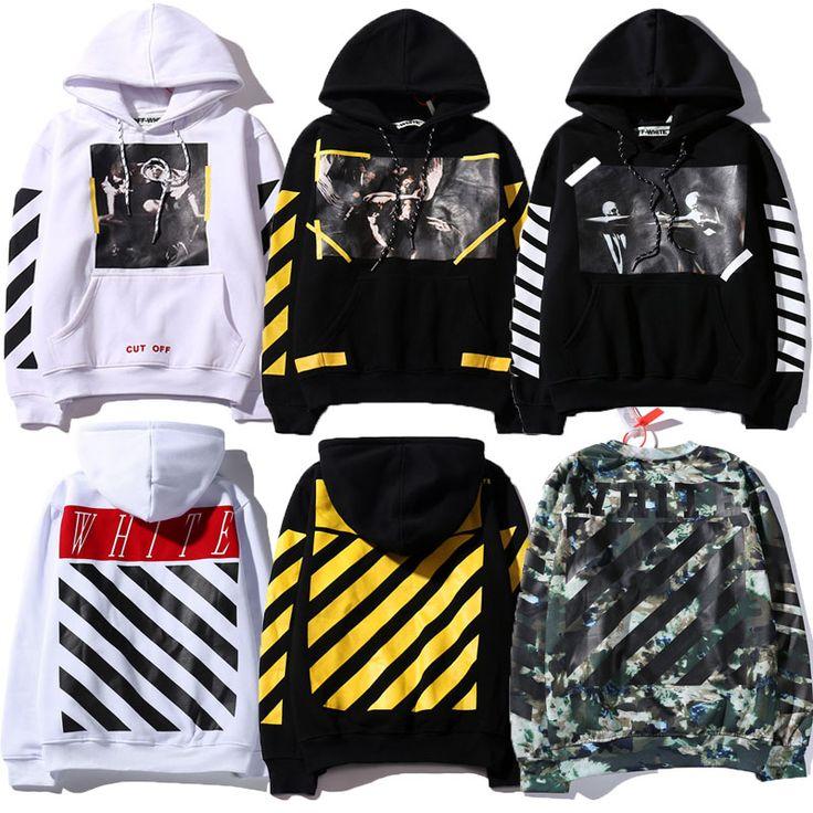 2016 Winter AFGESNEDEN WIT met Real Tag 1:1 Hoge kwaliteit hoodies mannen vrouwen hiphop brand clothing trui trainingspak Sweatshirts