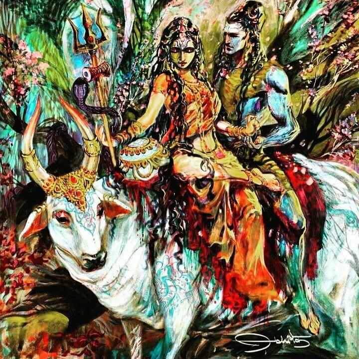 Shiva and Parvati, artist -abhishek art