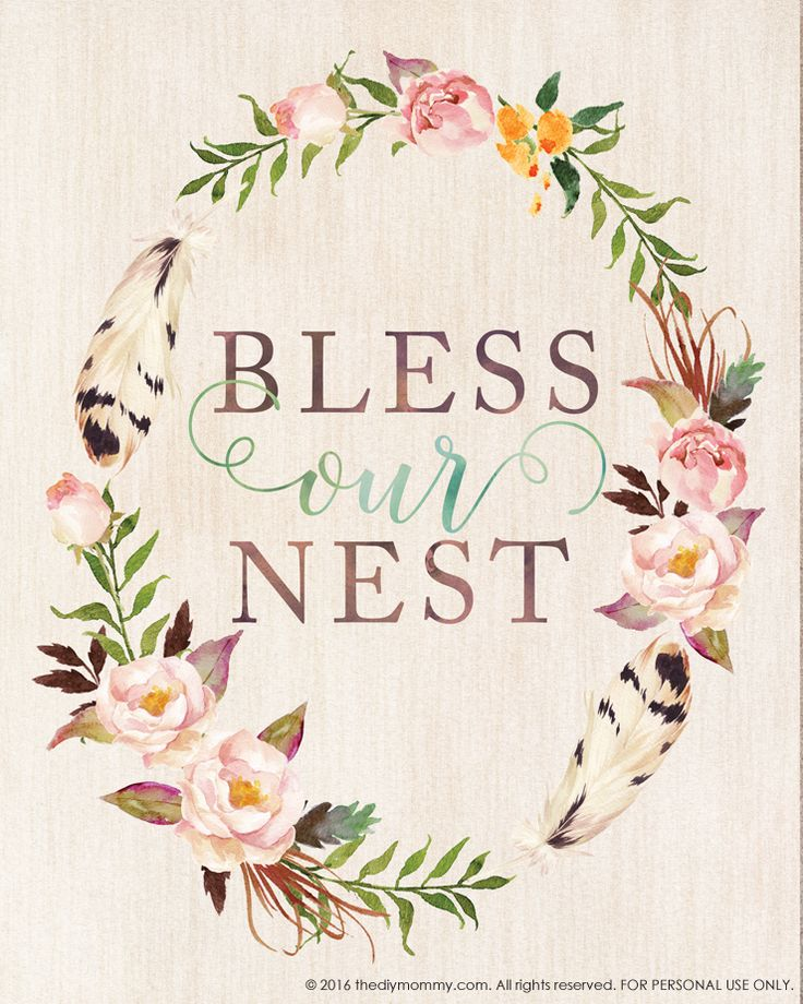 Bless Our Nest – Free Printable Watercolor Artwork for Spring | The DIY Mommy