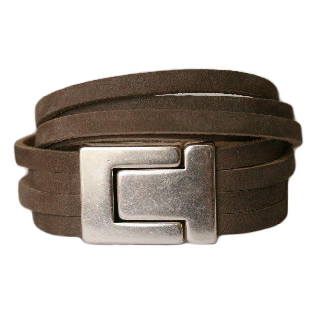 Armband  DARE!  LA26, donkertaupe #bracelet #leather #wrap #men #taupe