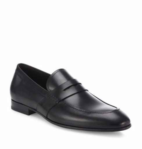 New Salvatore Ferragamo Black Guado Calfskin Leather Penny Loafers 12 45  $580 #SalvatoreFerragamo #LoafersSlipOns