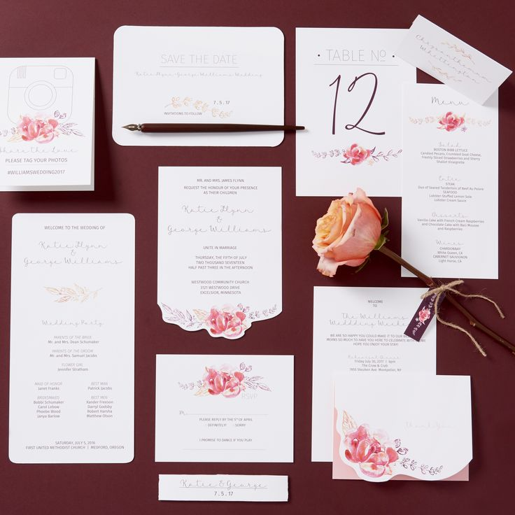 Watercolor Flowers wedding invitation set with optional