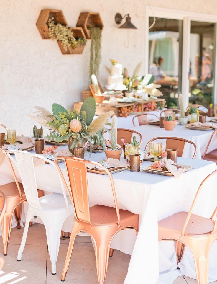 Cactus bridal shower with a copper, peach + desert green palette