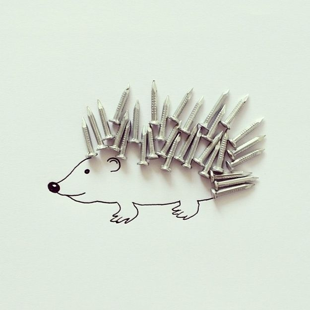 Artist Javier Pérez uses found objects and ink to create simplistic illustrations for his Instagram CintaScotch