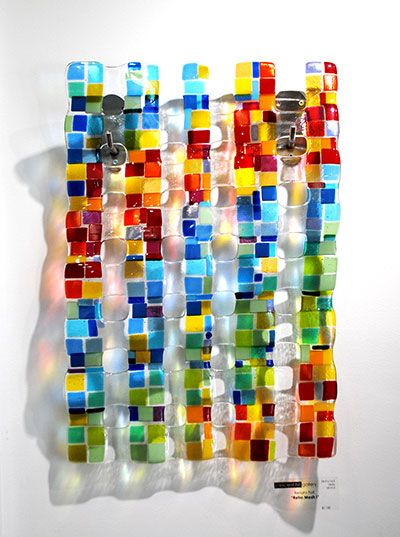 """Retro Mesh I"" 24x16"" Glass Wall Hanging by Renato Foti."