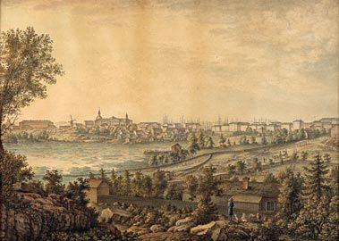 W. Le Moine, akvarelli 1820-luku.  Helsinki nähtynä soistuvan Kluuvinlahden yli, nykyisen Eduskuntatalon kohdalta. Lahden paikalla on nyt Rautatientori. Vastapäisellä rannalla sijaitsee Kluuvin kaupunginosa. Laiturin päässä on Kluuvin kaivo. Kaupungin kasvaessa kaivo jäi Kaivokadun ja Keskuskadun risteykseen.