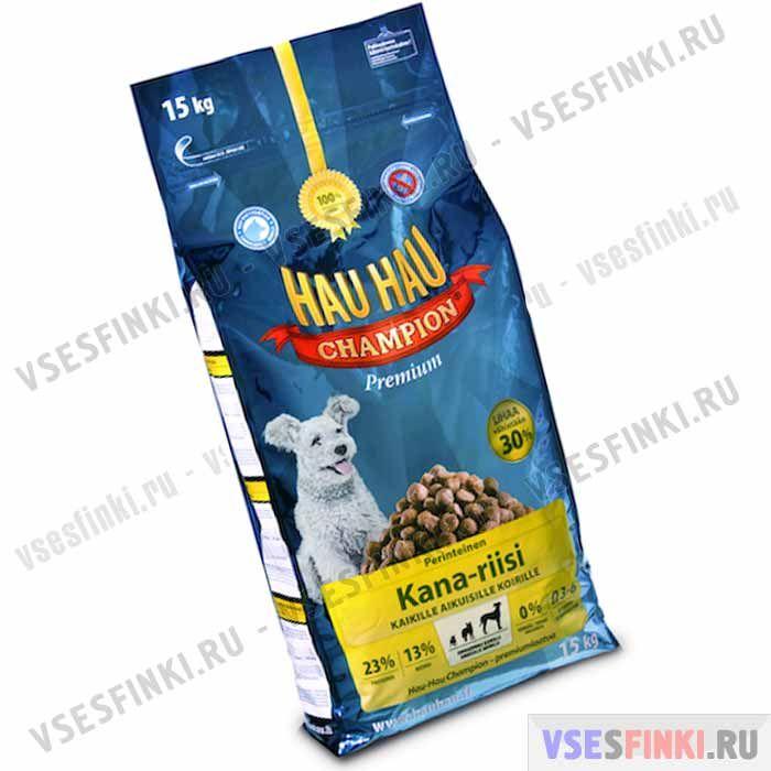 Корм Hau-Hau для взрослых собак (Курица и рис) 15 кг