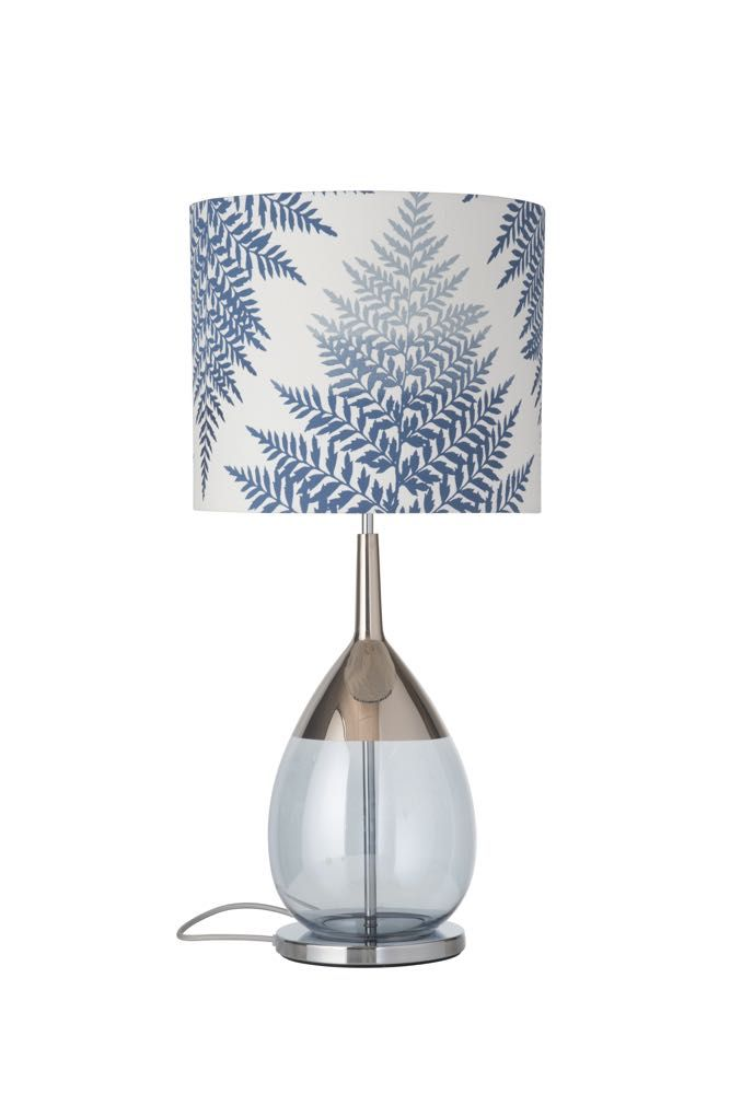 Lute Table Lamp Platinum Topaz Blue With A Fern Leaves Graphic Indigo Lampshade Hanging Pendant Lamp Lamp Table Lamp Base