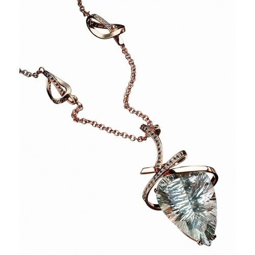 """""""Scintilla"""" Necklace: rose gold with a natural blue topaz and blue diamonds"""