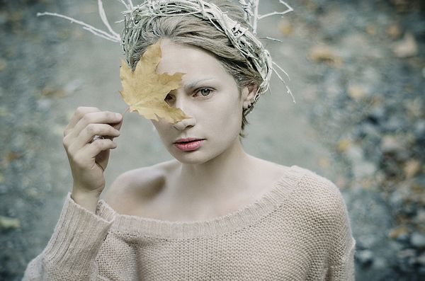 ALBINO IN FOREST. PRICKLE TENDERNESS by INNA MOSINA.   Belongs to the gallery RUSSIAN ARTISTS BEW WAVE.   In Russia there are harsh winters and people don't like the autumn in advance which sure turning into winter. But it is not a fair as autumn is full of gorgeous beauty and diversity.  #FineArtPhotography #Model #RussianArtistsNewWave #Photography #Woman #Autumn #Style #Fashion #StylishPhotography #Story #Prints #ArtForSale #ArtPhotography  #InnaMosina