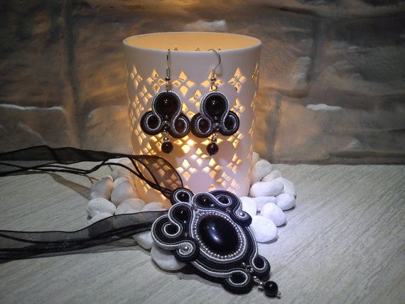 BLACK FRIDAY  Handmade Black Soutache by HelenHandmadeDesign