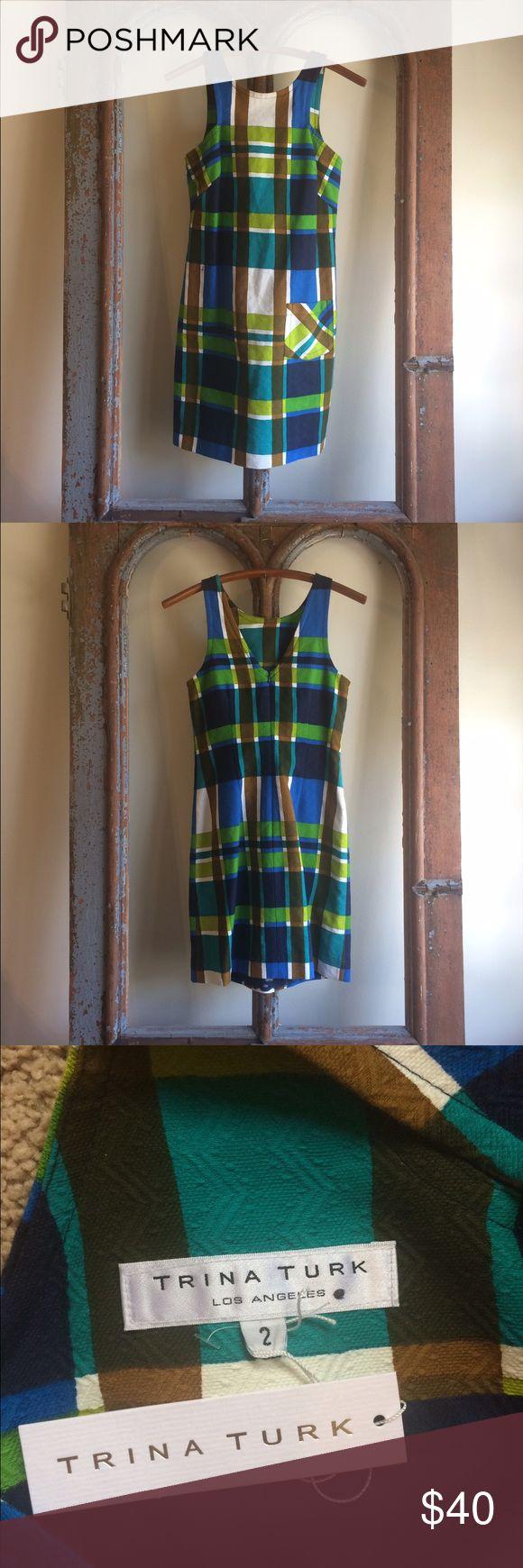 Trina Turk, Size 2 Dress Blue and green plaid mini Trina Turk dress in a size 2 Trina Turk Dresses Mini
