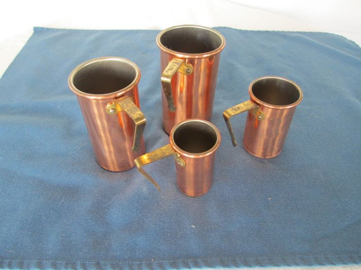 Vintage Copper Measuring Cups Set 4 Housewares Baking Supplies Bakeware Rustic Kitchen Cooking Gadgets by BitofHope on Etsy