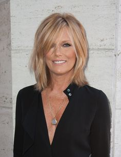 This would look so cute on you! Patti Hansen Medium Layered Cut - Medium Layered Cut Lookbook - StyleBistro-with bangs