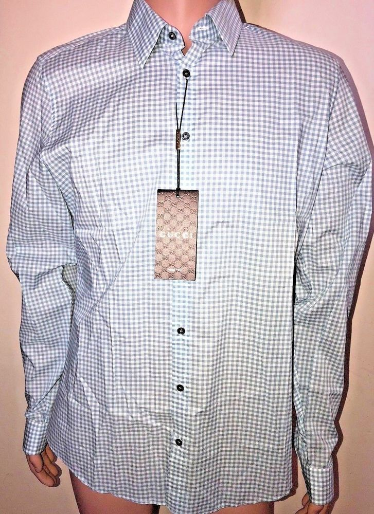f976a3d58 Mens Gucci Blue And White Plaid Long Sleeve Button Down Shirt Size 42/16.5 # Gucci
