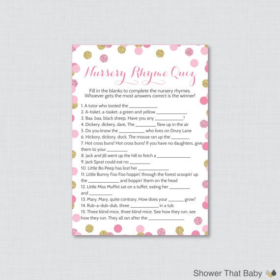 Baby Shower Nursery Rhyme Game Printable   Pink And Gold Baby Shower  Glitter Polka Dots   Printable Instant Download   0008 P