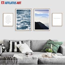 AFFLATUS Nordic Wall Art Canvas Painting Ocean Mountain Landscape Posters And Prints Wall Pictures For Living Room Home Decor (China (Mainland))