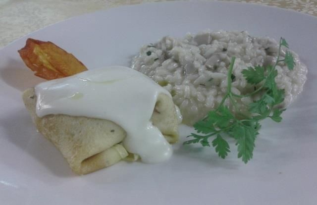Risotto and crespelle