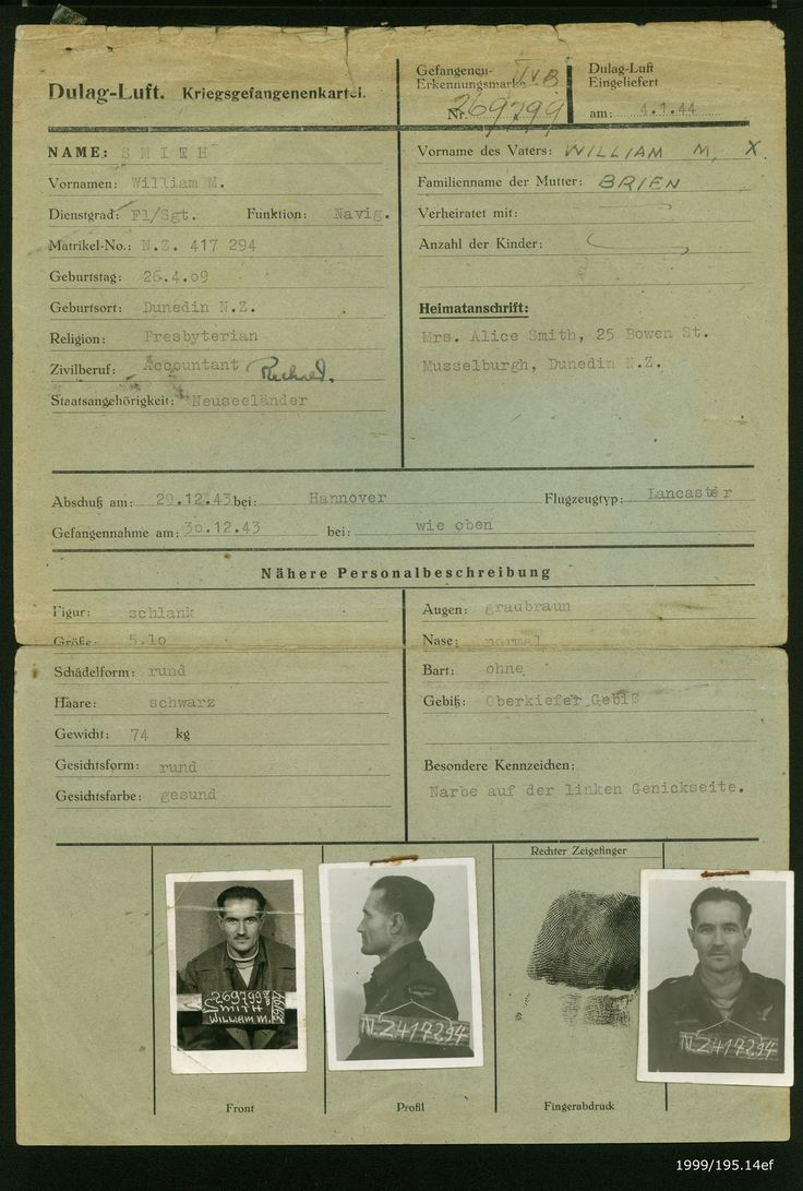 Dulag Luft prisoner of war interrogation card for William Milner Smith. From the collection of the Air Force Museum of New Zealand.