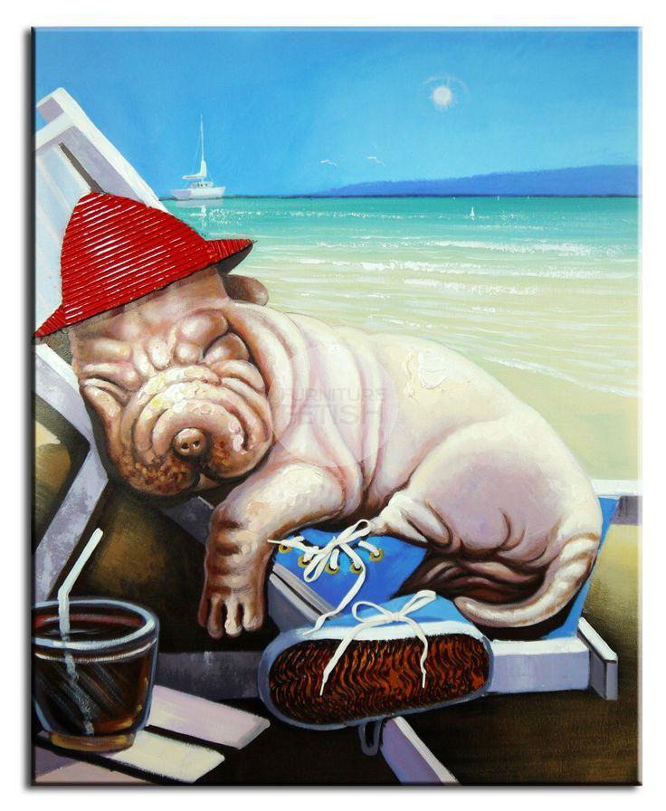 Sleeping Dog on Beach Oil Canvas 100 x 80cm