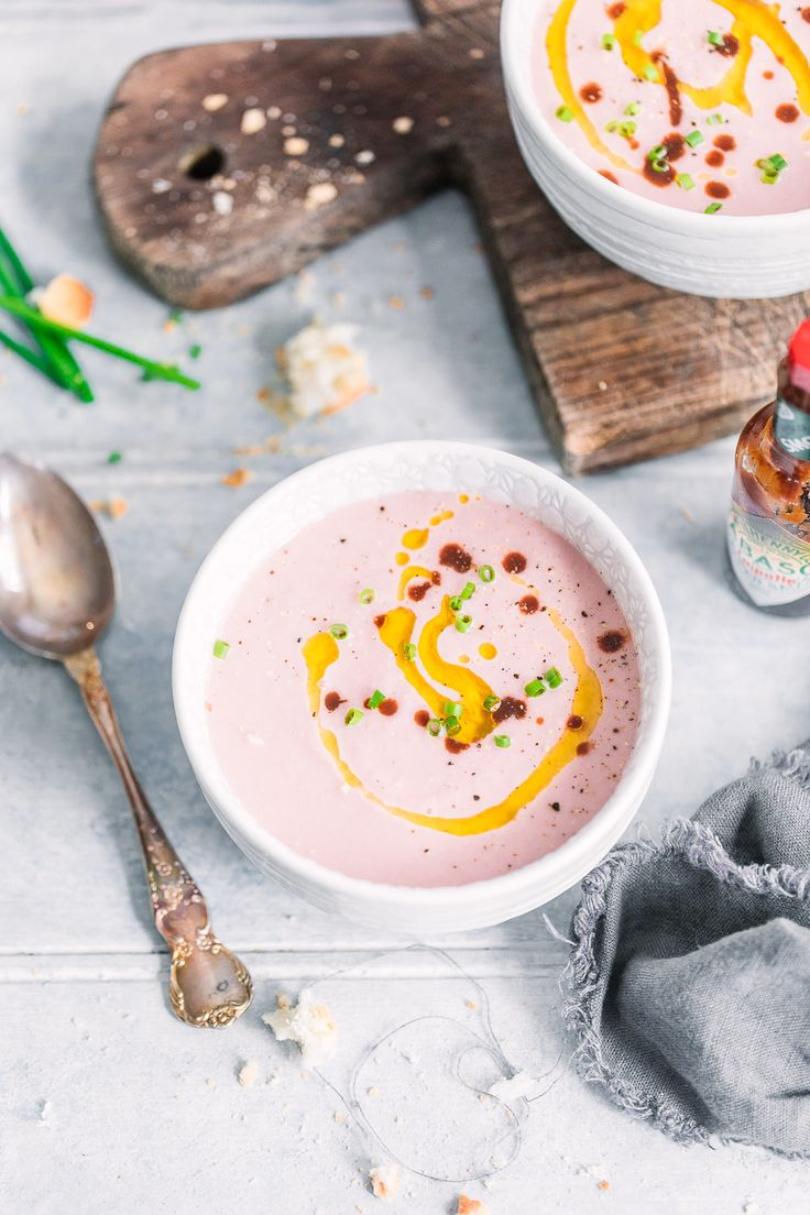 Delightfully pink radish, cucumber & smokey tabasco gazpacho! Perfect for those sticky summer nights! Anisa Sabet | The Macadames | Food Styling | Food Photography | Props | Moody | Food Blogger | Recipes