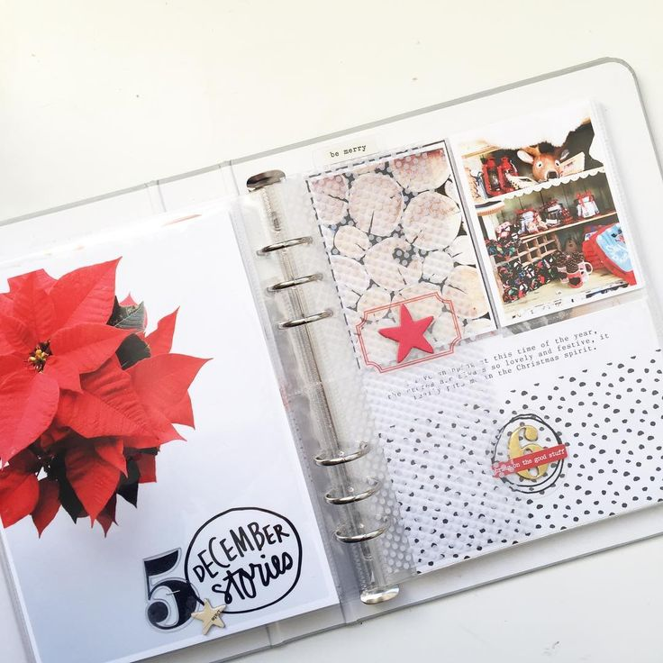 Full spread of day 5 and 6!! Love the red, black and gold combo! #aedecemberdaily #decemberdaily #pocketpages #projectlife