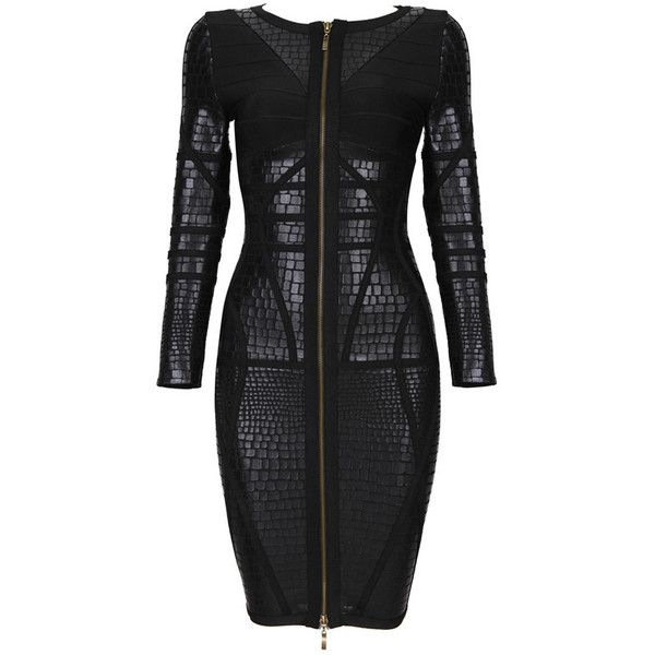 Posh Girl Black Foil Print Long Sleeve Bandage Dress ($168) ❤ liked on Polyvore featuring dresses, multi, kohl dresses, posh girl, black front zipper dress, bandage dress и black dress