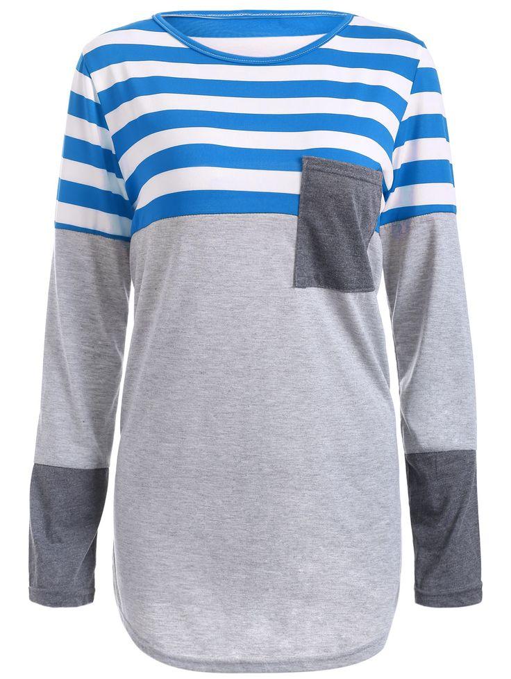 Striped Patchwork Asymmetric T-Shirt