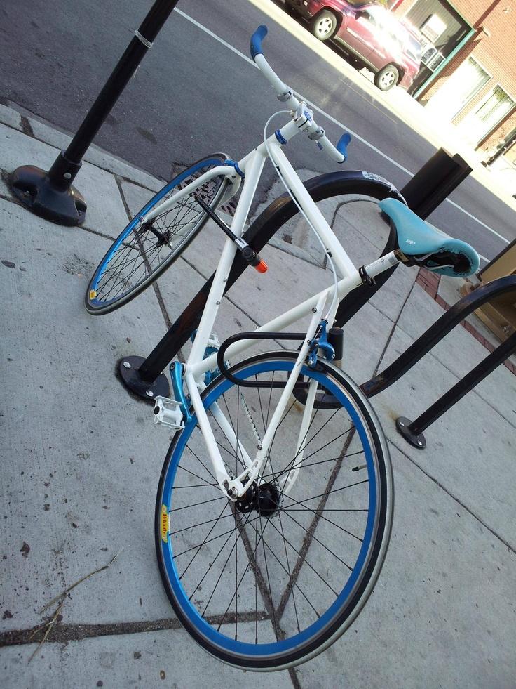 Beautiful custom blue and white fixie