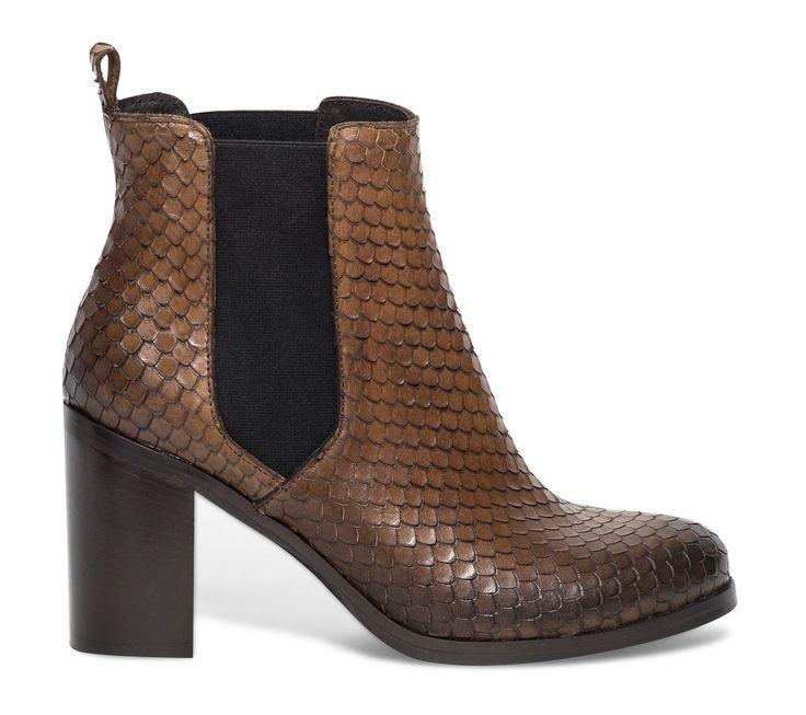 Chelsea boots cuir écaille marron - Boots / bottines - Chaussures femme