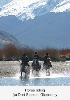 Horse riding, Glenorchy - a small settlement nestled in spectacular scenery at the northern end of Lake Wakatipu, app 45 kms by road or boat from Queenstown.