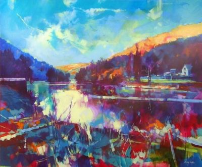 Wye at Symonds Yat 012-026  (acrylic on canvas framed 120 x 100 cm) £1650 plus delivery by Doug Eaton