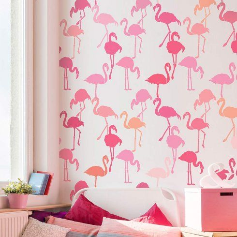 Learn how to stencil an accent wall using a Flamingo Allover Stencil, a popular tropical wallpaper stencil pattern, from Cutting Edge Stencils. http://www.cuttingedgestencils.com/flamingo-stencil-wallpaper-flamingos-stencil-pattern.html