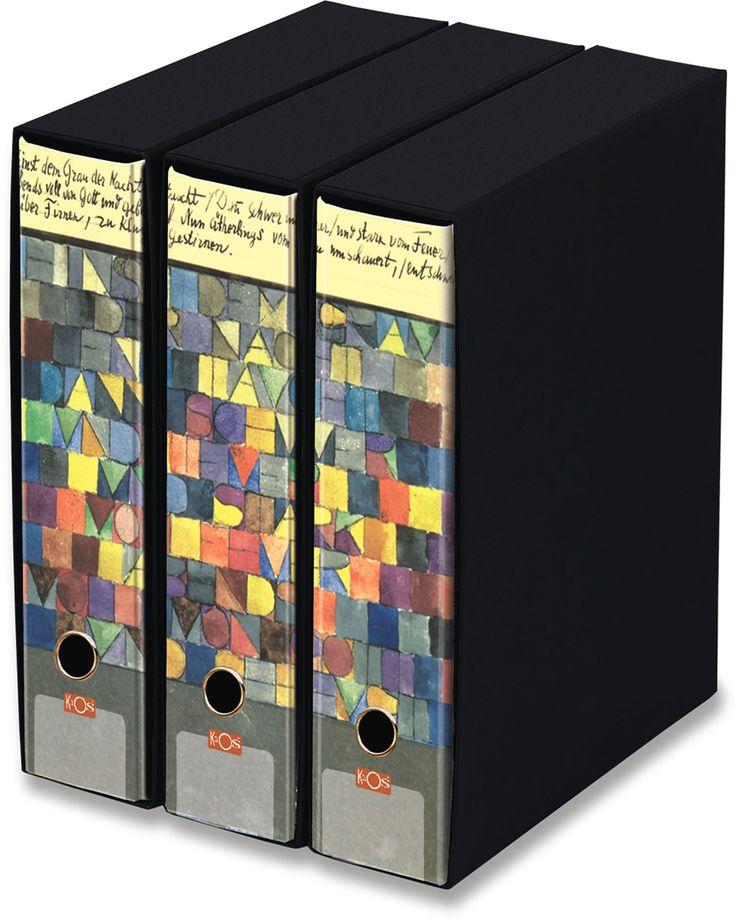KAOS Lever Arch Files 2ring Binders with slipcase, Spine 8 cm, 3 pcs Set  - ONCE EMERGED FROM THE GRAY OF NIGHT, PAUL KLEE  - 3 pcs Set Dimensions: 26.8x35x29 cm