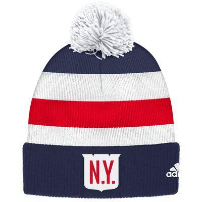 b9daf8490 Men s New York Rangers adidas Navy 2018 Winter Classic Players Cuffed Pom Knit  Hat