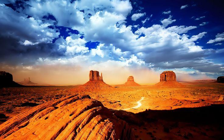 Desert valley with sky