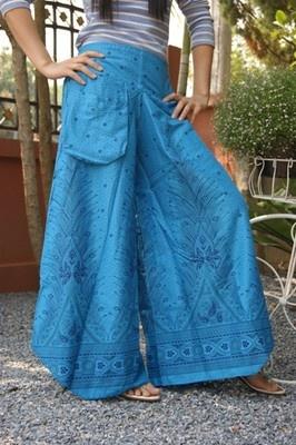 VTG HIPPIE BOHO oriental harem gypsy yoga belly dance art fisherman skirt pants