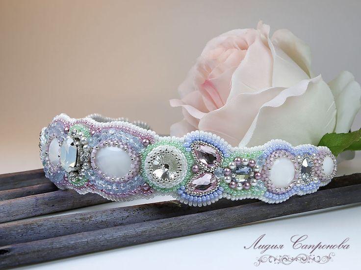 Купить Ободок Рафаэлло - белый, ободок для волос, ободок для невесты, ободок с кристаллами, ободок с перламутром