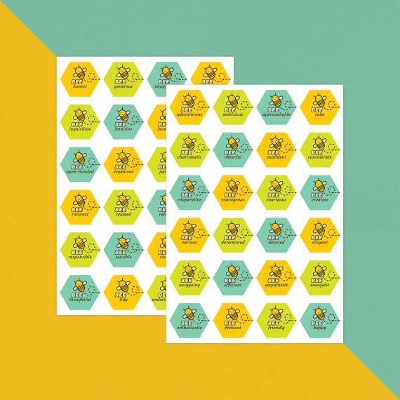 Bee Happy and Other Positive Characteristics - Stickers x 48