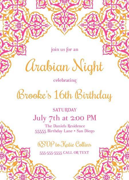 Arabian Nights Invitation Birthday Moroccan Invite Instant